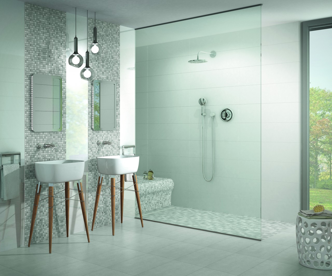 Jasba Fresh Bad Mosaik Light Gray Bodenebene Dusche ...